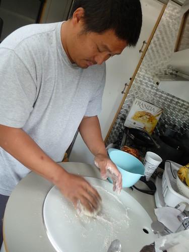 making beignets.