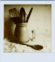 04 - Still Life (akki14) Tags: stilllife kitchen polaroid spoon scan tip stuff scanned timer px100