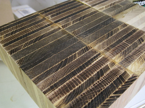 burned end grain of cutting board