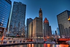 Wrigley Building (Christopher.F Photography) Tags: city urban chicago building buildings river nikon cityscape bluehour wrigley hdr highdynamicrange d3000