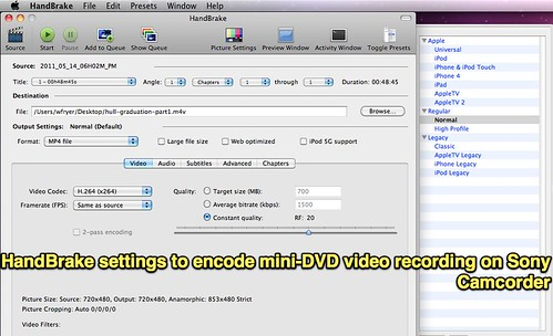 HandBrake settings to encode mini-DVD video recording on Sony Camcorder