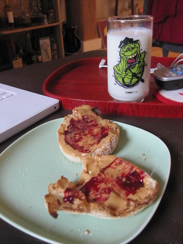 English muffin with PB&J, milk