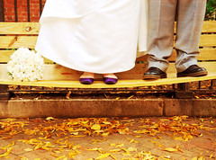 Happy ( I DO! ) Bench Monday! (Kelly West Mars) Tags: autumn wedding portrait urban man fall love leaves yellow groom bride couple marriage naturallight romance wife bouquet gown quirky richmondva purpleshoes hbm historicdowntown docmartins nikond80 benchmonday florabellatextures