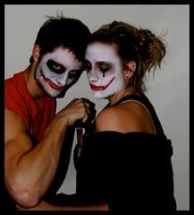 ::Day One Hundred Twenty-Two:: Joker and Harley Quinn (Heather Carolyn) Tags: red selfportrait black halloween dark movie clown knife makeup batman joker villain harleyquinn