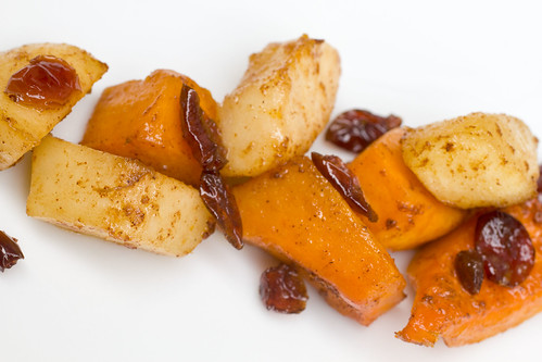 Roasted Butternut Squash, Bartlett Pears, and Dried Cranberries