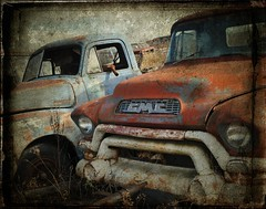 Red GMC (12Jeepgirl~Never look back...) Tags: texture abandoned photoshop truck nikon rust midwest rusty sigma iowa forgotten lonely junkyard gmc decayed d300