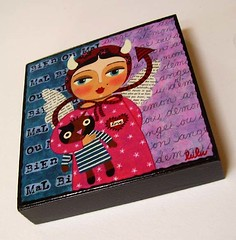 ANGEL DEVIL GIRL WITH CAT  wooden block print (LuLu Mypinkturtle) Tags: christmas wood art girl wall angel painting print french wooden ebay lulu folk outsider gift devil hanging block etsy naive decor
