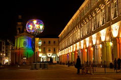 Artistic Lights (Vincenzo Giordano) Tags: italy orange monument night square torino lights nikon colours artistic piemonte piazza portici turin piedmont piazzasancarlo sancarlo d40 coveredwalk