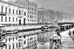 Russian Autumn (` Toshio ') Tags: city bridge urban blackandwhite bw cars water architecture buildings reflections river stpetersburg boats mirror boat canal europe cityscape russia path bridges rail walkway infrared saintpetersburg russian winterpalace embankment waterway toshio moyka palaceembankment moykariver gostinyydvor