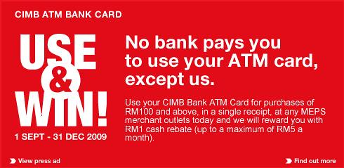 CIMB Bank ATM Card Use and Win Campaign