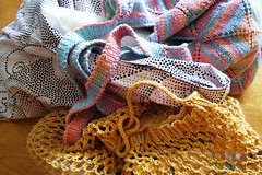 sewn knit and crochet shopping bags