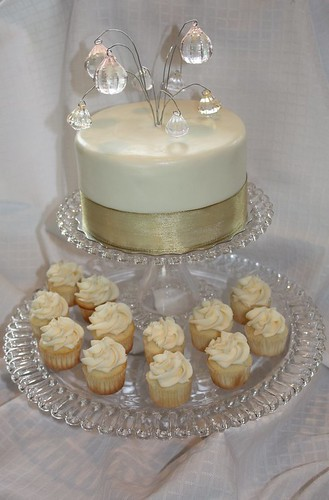Created for a 60th wedding anniversary this cupcake tower featured zesty