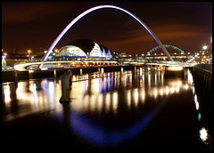 Millennium Bridge (Alice144.) Tags: water reflections lights sage millenniumbridge gateshead tynebridge newcastleupontyne quayside rivertyne