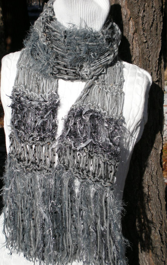 Scarf Abundant Shades and Textures of Gray and Black - Long Comfy and Warm Body Decor Designer Scarf