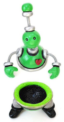 Green Gusteau Robot Sculpture Keepsake Storage Vessel Top & Bottom Pieces
