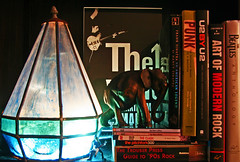 Reading Music by the Junk Light (12/365) (Swede1969) Tags: light elephant oneaday media books bookshelf shelf photoaday 365 thewho 2010 pictureaday junkart project365 365project onephotoaday project36512 3652010 2010yip project365011210