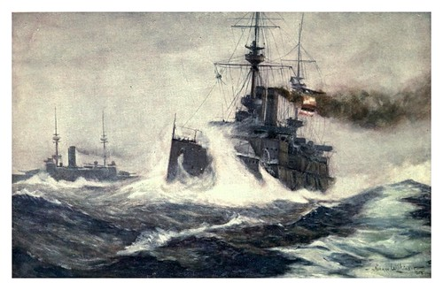023- Navegacion con mal tiempo-The Royal Navy (1907)- Norman L. Wilkinson