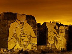 Strange world (Enneade) Tags: city urban building berlin jaune germany painting graffiti town tag peinture allemagne ville immeuble urbain enneade