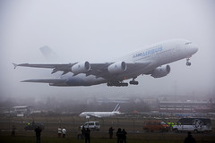 The Airbus A380 in Geneva (Alejandro Prez) Tags: fog switzerland airport geneva aircraft aviation airbus a380 airliner gva superjumbo cointrin fwwdd ofac enginealliance