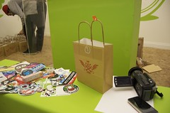 Goodie bag #1 (JamFactory) Tags: uk party night bristol toy gallery vinyl exhibition fisheye plastic droplet launch showcase s2 series2 jamfactory fiftyfifty crazylabel