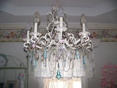 My Favorite Chandelier (MyInnerPrincess) Tags: lighting altered vintage aqua antique victorian pearls chandelier restored jewels shabby pinkroses chandy repainted crystalbulbcovers