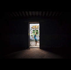 female mysteries - China ( Tatiana Cardeal) Tags: guangzhou china door travel woman female digital umbrella temple asia village chinese guangdong  delicate 2009 canton  sheng canto chatang  hongsheng