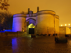The Gatehouse at Nottingham Castle (DaveKav) Tags: uk longexposure greatbritain england castle rain night unitedkingdom britain olympus medieval gb nottinghamshire shut 2010 gatehouse e510 nottinghamcastle lightnight
