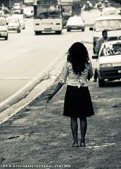 Shes got her ticket (AvikBangalee) Tags: nikon waiting candid streetphotography skirt tracy busstop malaysia beautifulwoman kualalumpur curlyhair chapman 18200mm d90 nikor brickfields shesgotherticket