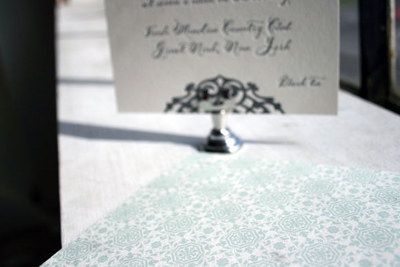 Lashar Letterpress Invitation with Patterned Backing
