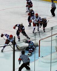 Rush (Tesla314) Tags: winter canada ice hockey vancouver goal goalie referee women shot russia icehockey slovakia puck olympics defense 2010 defend goalkeeper