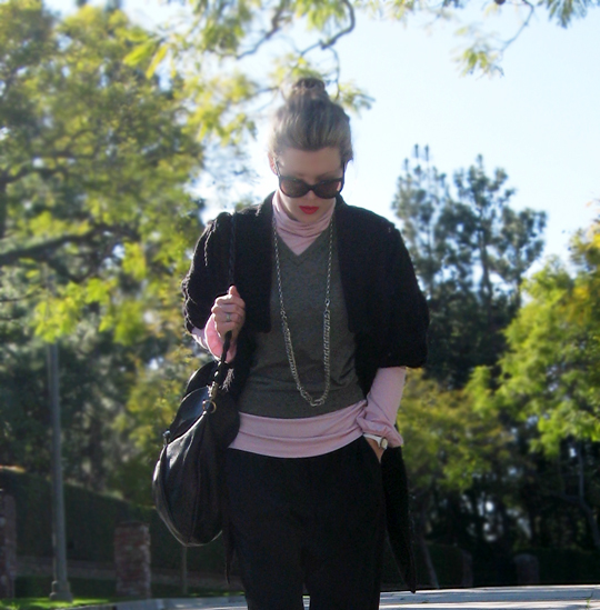 casual layers -pink black gray- chain boots - 7