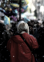 red (christripes) Tags: street city carnival light red people italy woman milan color texture focus defocus deathoffield