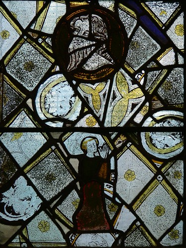 Tonsured monk medieval C14 stained glass Old Arley