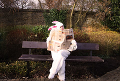 Adventures of the Easter Bunny (Devilllle) Tags: park rabbit bunny bench financialtimes easterbunny stocksandshares