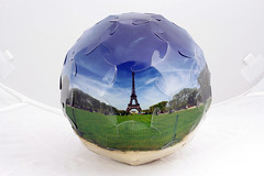 Eiffel Tower soccer ball (Bogdan L) Tags: panorama paris france origami eiffeltower modular kirigami 360 papercraft truncatedicosahedron oschene gadl mathmap developable noglue curvedfolding bogdanl panoball