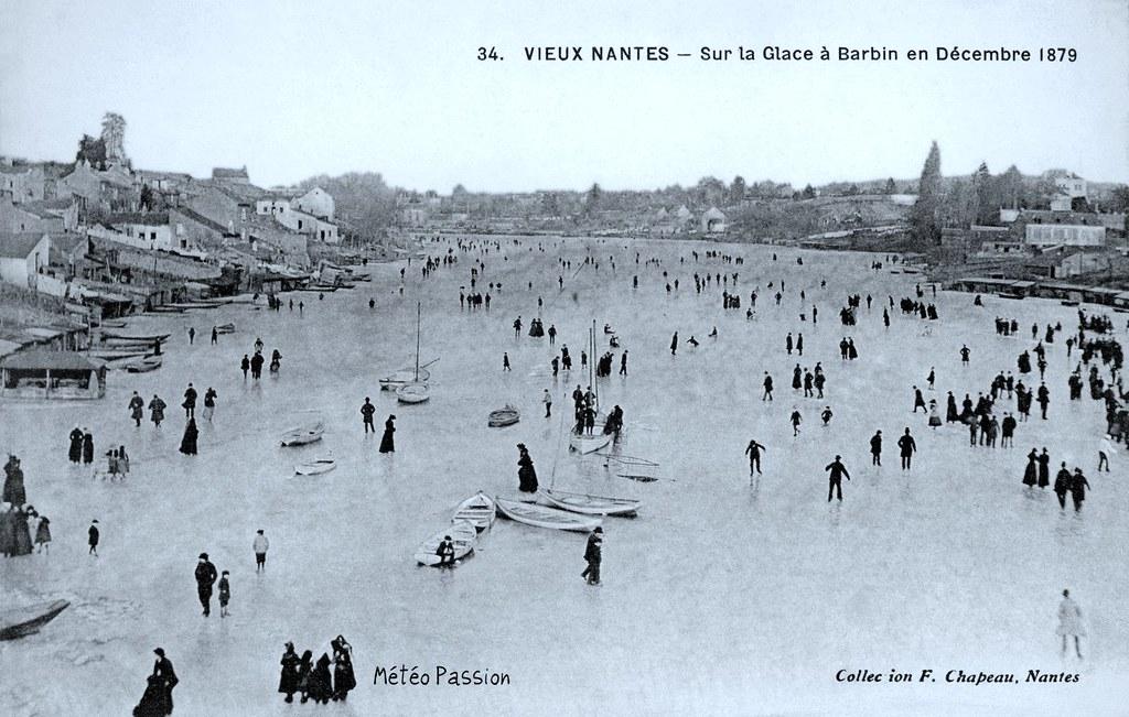 patineurs sur l'Erdre gelée à Nantes en décembre 1879