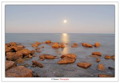 Just Beauty (Damon | Photography) Tags: longexposure moon seascape beach beauty rock night landscape nikon rocks long exposure day horizon sae just land kuwait 1855mm nikkor polarizer circular hoya q8 clp d40 nikond40