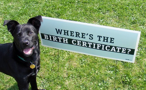 """Where's the Birth Certificate?"" dogs Obama"