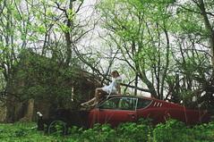 (yyellowbird) Tags: red abandoned girl car mercury cari cyclone