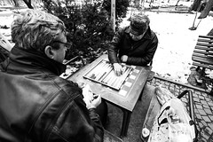 Winter Backgammon (Alex Ifrim) Tags: backgammon games park bw old people playing