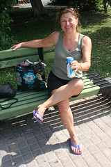 Time for a beer (copperbottom1uk) Tags: woman feet smile bench tank top flip flipflops flops shorts
