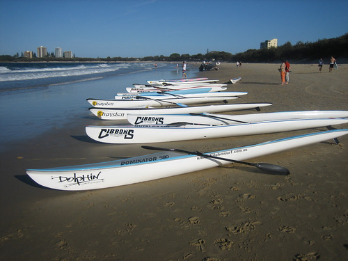 Racing kayaks on the beach at Mooloolaba