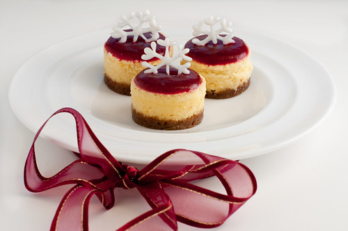 Mascarpone Cheesecake with Cranberry Balsamic Glaze and White Chocolate Snowflakes