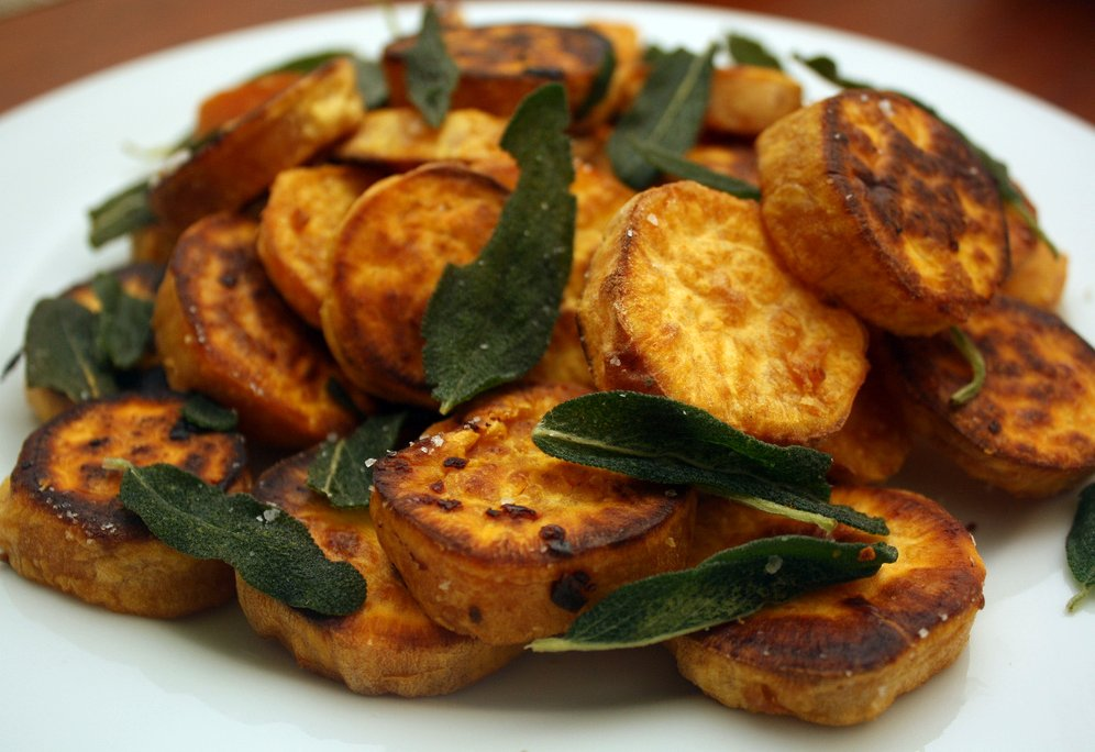 ... on Dinner: roasted sweet potato rounds with garlic oil and fried sage