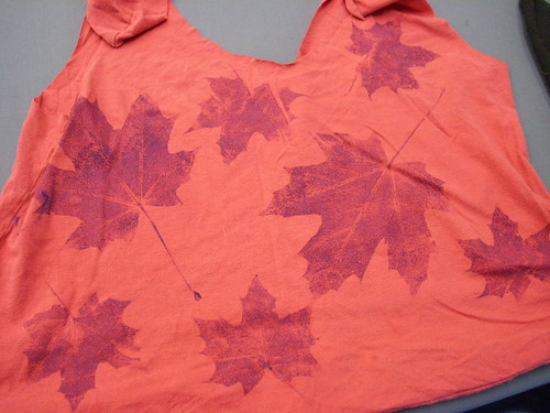 found object leaf print recycled t shirt bag