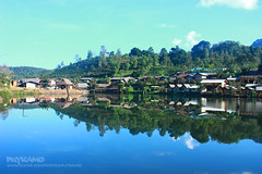 Beautiful village (Pkamo@Tai) Tags: trip travel plants reflection tree green me nature water beautiful cat pose thailand model tour view place famous thai pai 2009 mea myportrait    puykamo meahongsorn hongson popularplaces   placefortravelinthailand