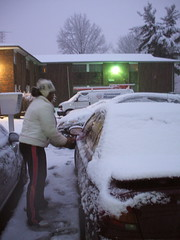 angie cleans the car