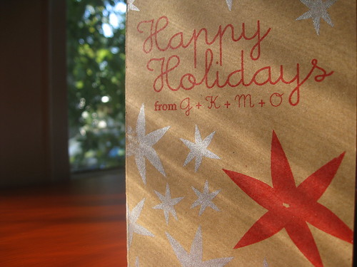 Happy Holidays Greeting Card Make on Reclaimed Paperboard