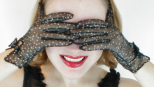 Vintage sheer nylon gloves