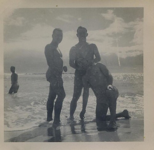 1940s World War 2 queer gay men shirtless posing in water at beach in swim ...
